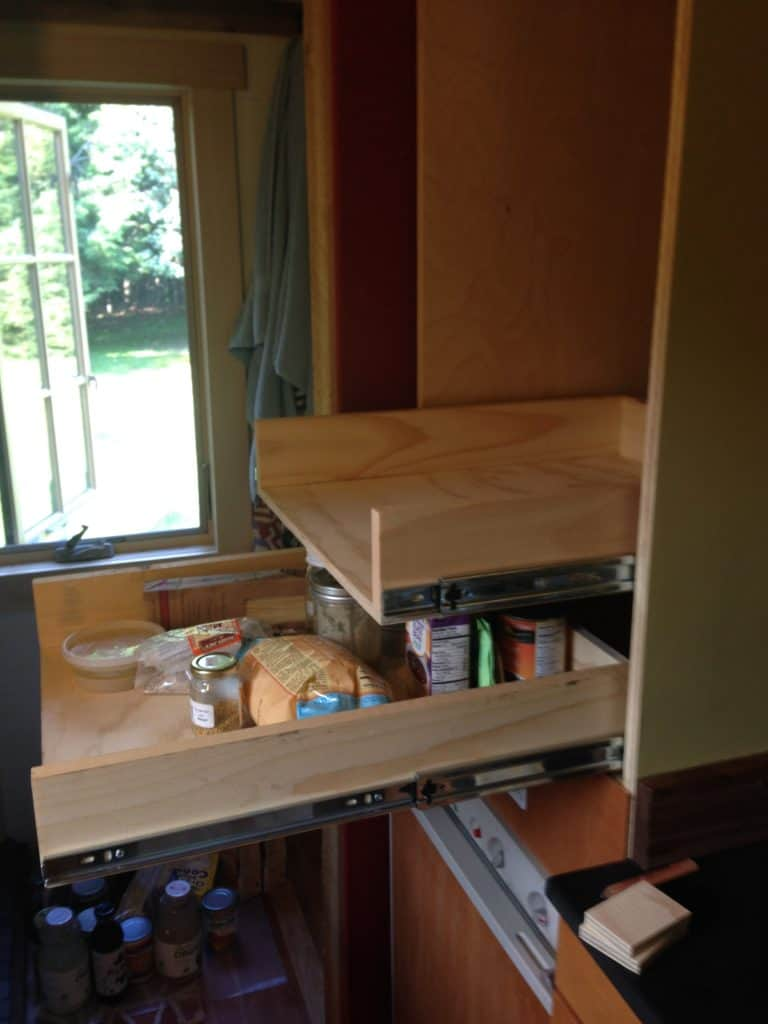 Slide out pantry shelves for the tiny house kitchen