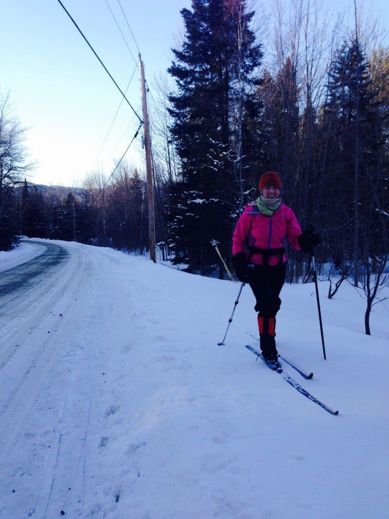 cross country skiing at the tiny house