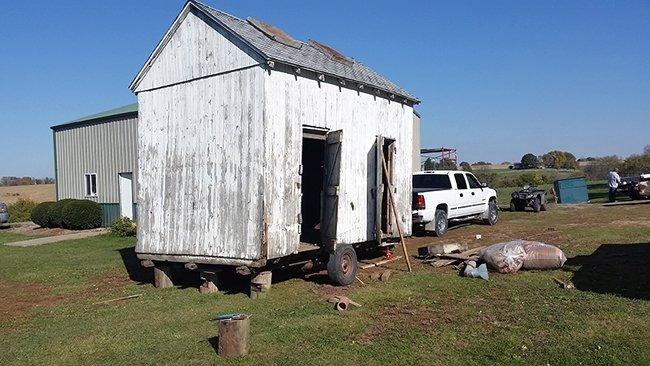 Cheap shed tiny house on skids