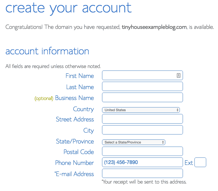 Bluehost account details