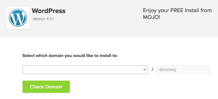 WordPress Install on Domain Name
