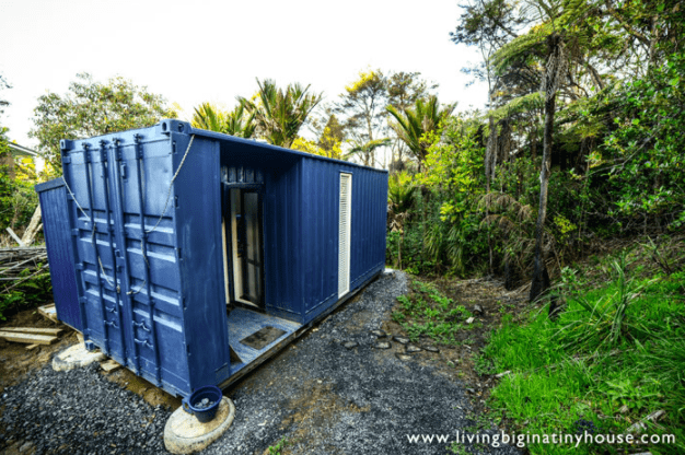 shipping container tiny house exterior