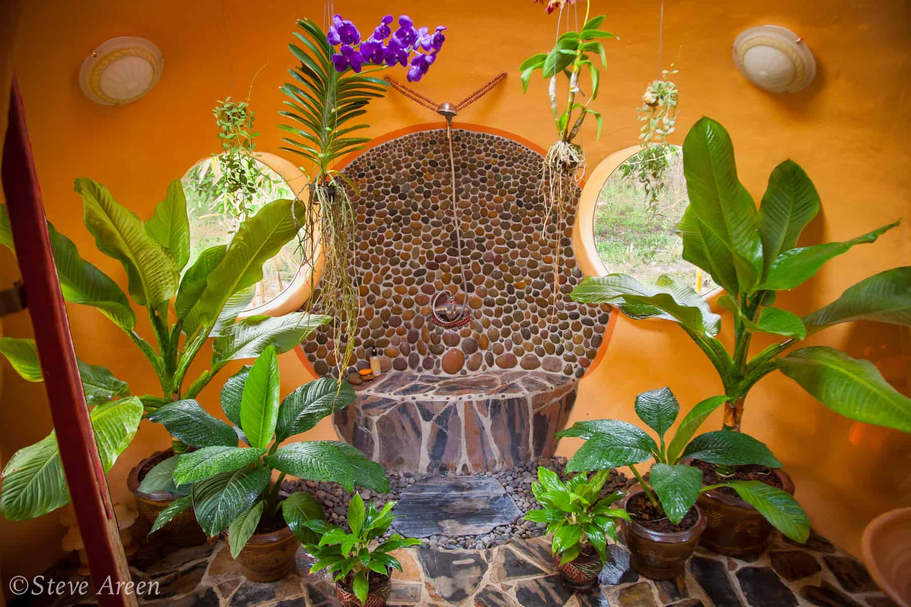Aircrete dome jungle bathroom