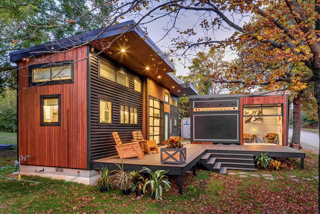 asha mevlana tiny house exterior night