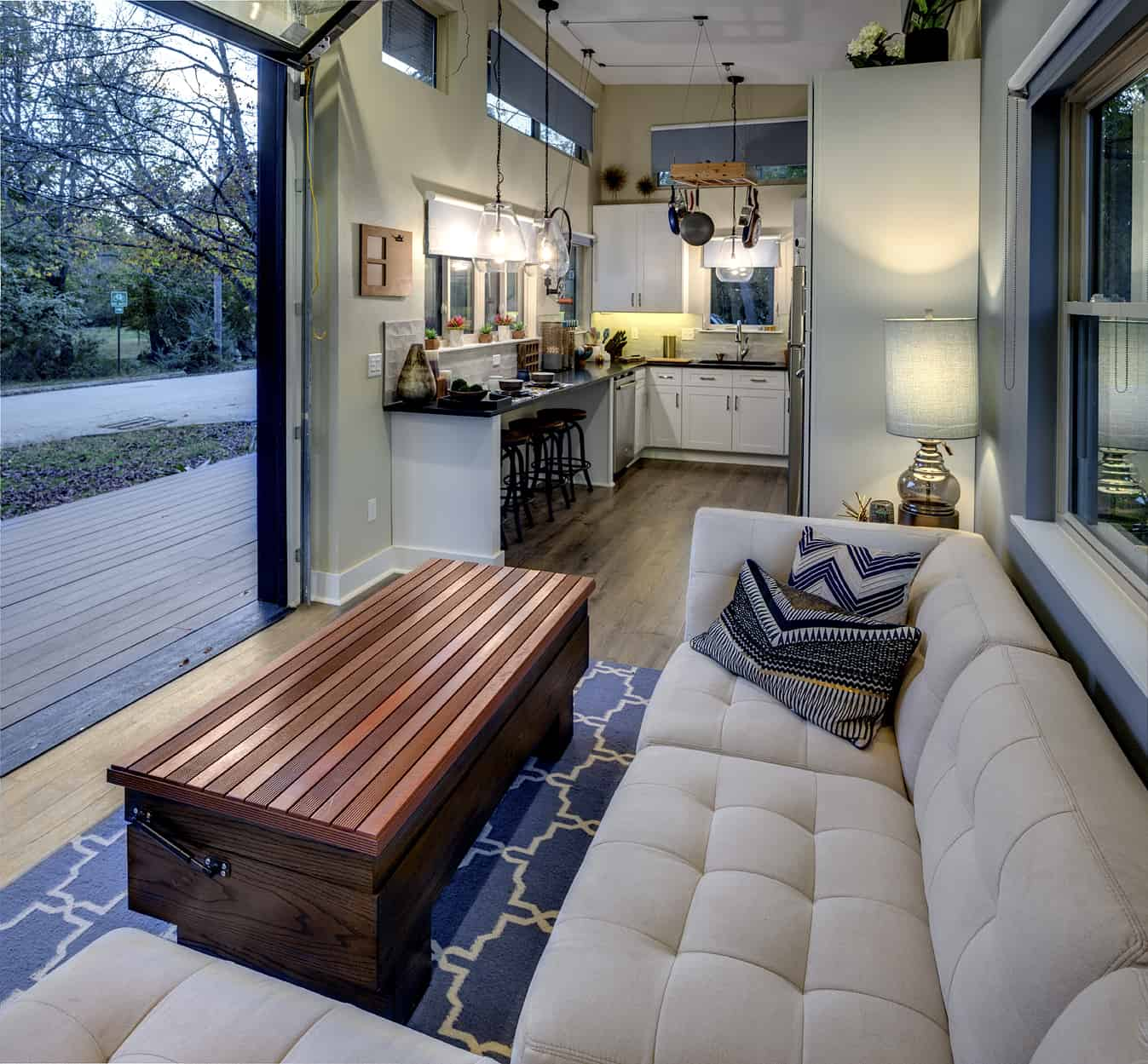 asha mevlana tiny house couch storage