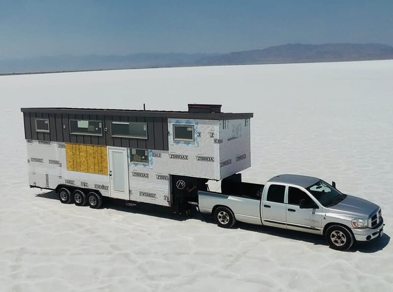 Lindsay Wood towing tiny house Salt Flats